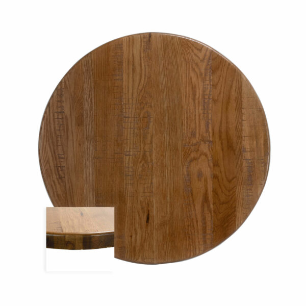 Circular shape Distressed American Red Oak Wide Plank sold at tablesource.com